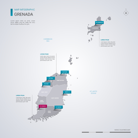 Grenada vector map with infographic elements, pointer marks. Editable template with regions, cities and capital St. George's.