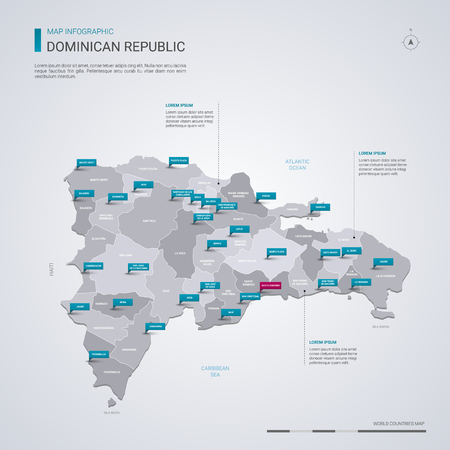 Dominican Republic vector map with infographic elements, pointer marks. Editable template with regions, cities and capital Santo Domingo.