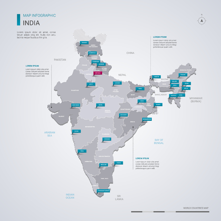 India vector map with infographic elements, pointer marks. Editable template with regions, cities and capital Delhi.