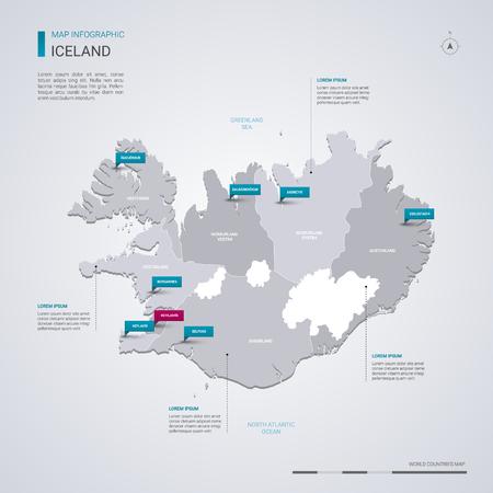 Mapa del vector de Islandia con elementos infográficos, marcas de puntero. Plantilla editable con regiones, ciudades y capital, Reykjavik.