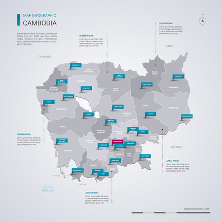 Cambodia vector map with infographic elements, pointer marks. Editable template with regions, cities and capital Phnom Penh.  Ilustração