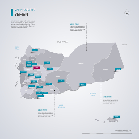 Yemen vector map with infographic elements, pointer marks. Editable template with regions, cities and capital Sanaa.