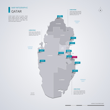 Qatar vector map with infographic elements, pointer marks. Editable template with regions, cities and capital Doha.