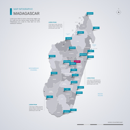 Madagascar vector map with infographic elements, pointer marks. Editable template with regions, cities and capital Antananarivo.