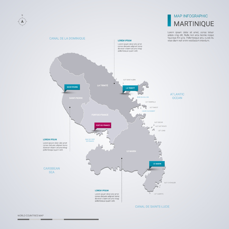 Martinique vector map with infographic elements, pointer marks. Editable template with regions, cities and capital Fort-de-France.