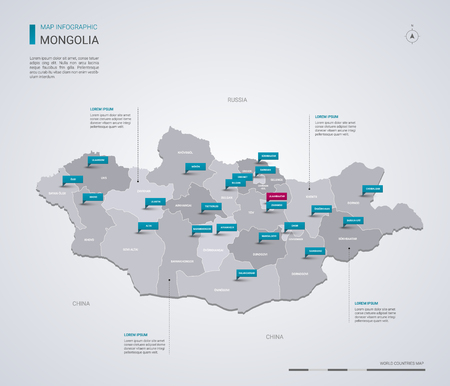 Mongolia vector map with infographic elements, pointer marks. Editable template with regions, cities and capital Ulaanbaatar.
