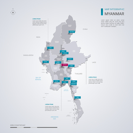 Myanmar (Burma) vector map with infographic elements, pointer marks. Editable template with regions, cities and capital Naypyidaw.