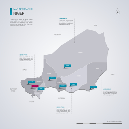 Niger vector map with infographic elements, pointer marks. Editable template with regions, cities and capital Niamey. Vector Illustration