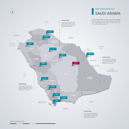 Saudi Arabia vector map with infographic elements, pointer marks. Editable template with regions, cities and capital Riyadh.