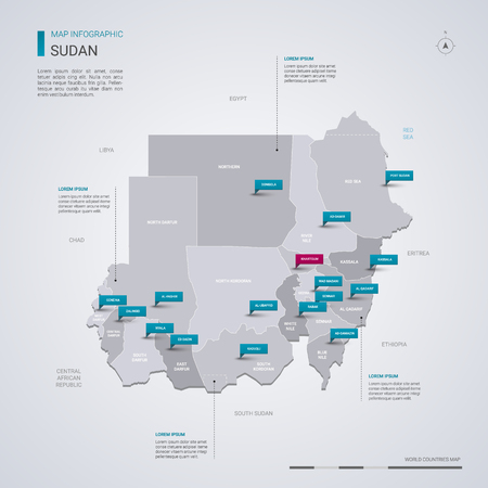 Sudan vector map with infographic elements, pointer marks. Editable template with regions, cities and capital Khartoum. Vetores