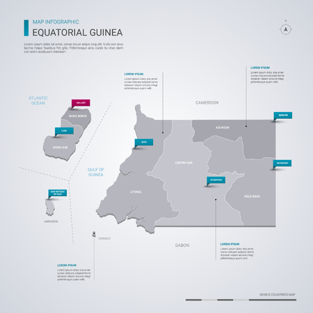Equatorial Guinea vector map with infographic elements, pointer marks. Editable template with regions, cities and capital Malabo.