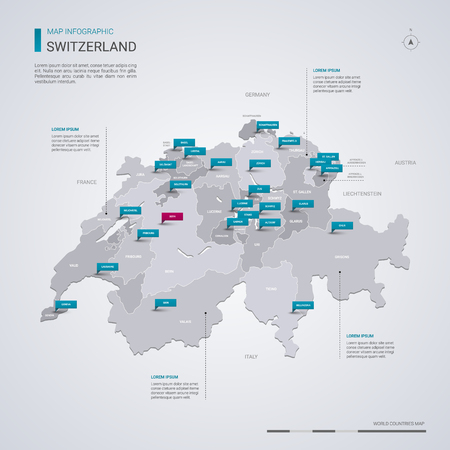 Switzerland vector map with infographic elements, pointer marks. Editable template with regions, cities and capital Bern.