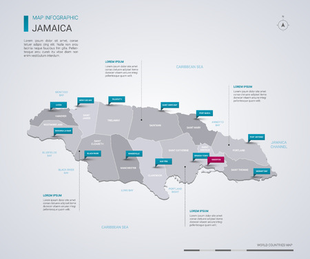 Jamaica vector map with infographic elements, pointer marks. Editable template with regions, cities and capital Kingston.