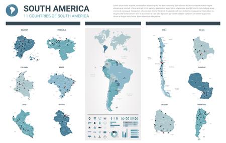 Mappe vettoriali impostate. 11 mappe dettagliate dei paesi del Sud America con divisione amministrativa e città. Mappa politica, mappa del continente americano, mappa del mondo, globo, elementi infografici.