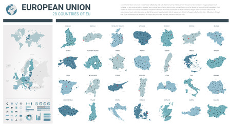 Vector maps set. High detailed 28 maps of European Union countries (member states) with administrative division and cities. Political map, map of Europe , world map, globe, infographic elements.