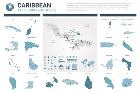 Vector maps set.  High detailed 19 maps of Caribbean countries with administrative division and cities. Political map, map of Caribbean region, world map, globe, infographic elements. Illustration
