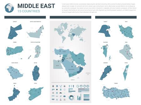 Jeu de cartes vectorielles. 15 cartes très détaillées des pays du Moyen-Orient avec division administrative et villes. Carte politique, carte de la région du Moyen-Orient, carte du monde, globe, éléments infographiques. Vecteurs