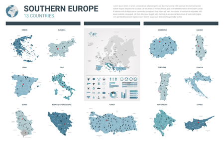 Vector maps set.  High detailed 13 maps of Southern Europe countries with administrative division and cities. Political map, map of Europe continent, world map, globe, infographic elements.
