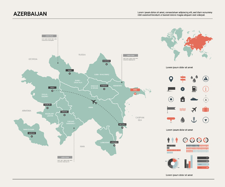 Vector map of Azerbaijan .  High detailed country map with division, cities and capital Baku. Political map,  world map, infographic elements.