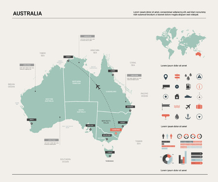 Vector map of Australia .  High detailed map with division, cities and capital Canberra. Political map,  world map, infographic elements.