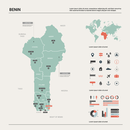 Vector map of Benin.  High detailed country map with division, cities and capital  Porto Novo. Political map,  world map, infographic elements.