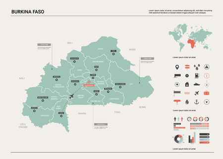 Vector map of Burkina Faso.  High detailed country map with division, cities and capital Ouagadougou. Political map,  world map, infographic elements.   Ilustrace