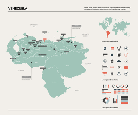 Vector map of Venezuela.  High detailed country map with division, cities and capital Caracas. Political map,  world map, infographic elements.
