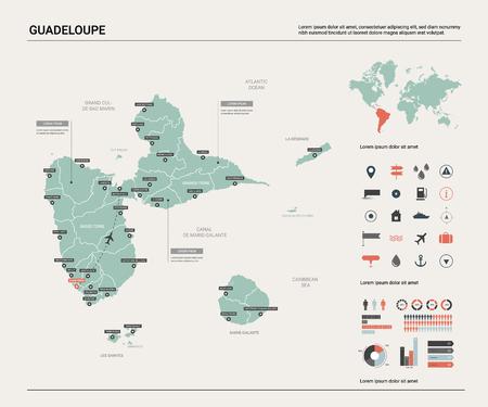 Carte vectorielle de la Guadeloupe. Carte de pays très détaillée avec division, villes et capitale. Carte politique, carte du monde, éléments infographiques.