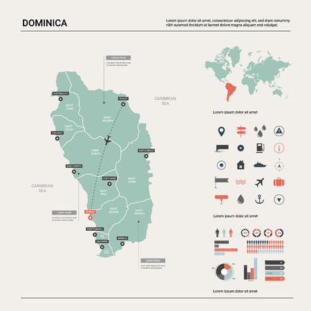 Vector map of Dominica. High detailed country map with division, cities and capital Roseau. Political map, world map, infographic elements.