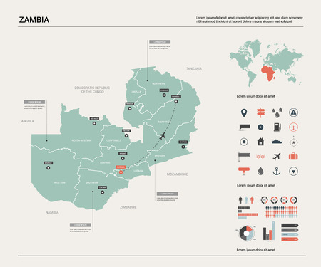 Vector map of Zambia.  High detailed country map with division, cities and capital Lusaka. Political map,  world map, infographic elements.