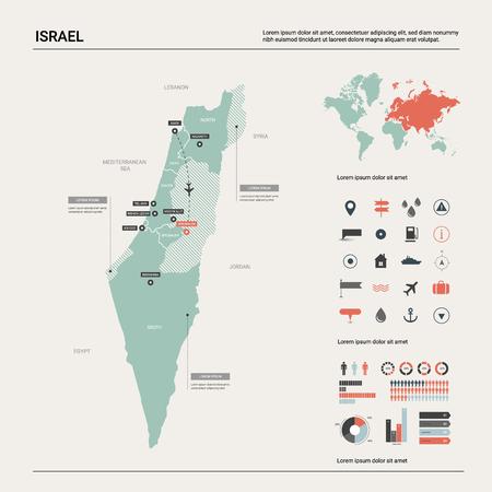 Mappa vettoriale di Israele. Mappa del paese altamente dettagliata con divisione, città e capitale Gerusalemme. Mappa politica, mappa del mondo, elementi infografici. Vettoriali