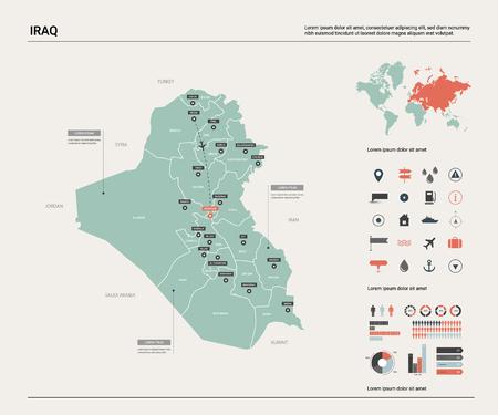 Carte vectorielle de l'Irak. Carte de pays très détaillée avec division, villes et capitale Bagdad. Carte politique, carte du monde, éléments infographiques.