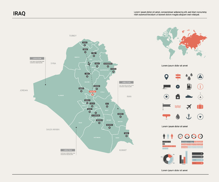 Vector map of Iraq.  High detailed country map with division, cities and capital Baghdad. Political map,  world map, infographic elements.