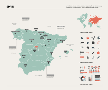 Vector map of Spain. High detailed country map with division, cities and capital Madrid. Political map,  world map, infographic elements.