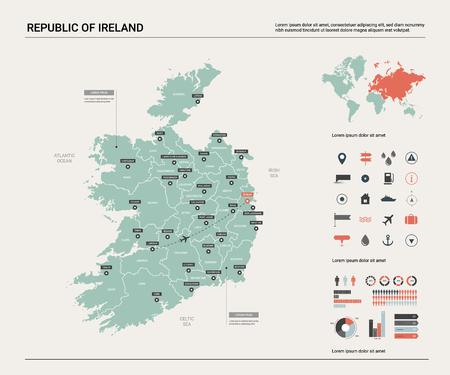 Vector map of Republic of Ireland. High detailed country map with division, cities and capital Dublin. Political map,  world map, infographic elements.