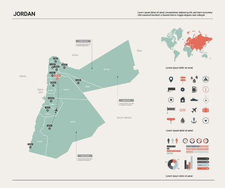 Vector map of Jordan.  High detailed country map with division, cities and capital Amman. Political map,  world map, infographic elements.