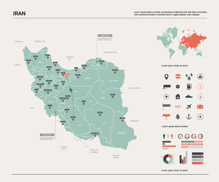 Vector map of Iran.  High detailed country map with division, cities and capital Tehran. Political map,  world map, infographic elements.