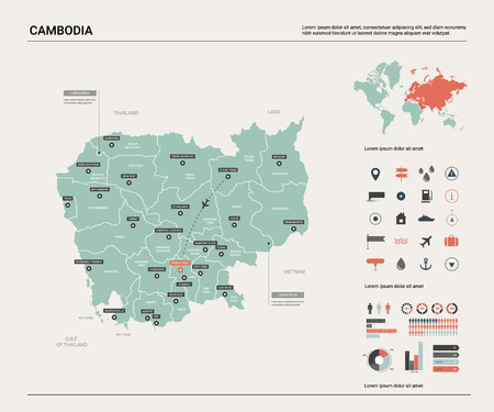 Vector map of Cambodia. High detailed country map with division, cities and capital Phnom Penh. Political map,  world map, infographic elements.