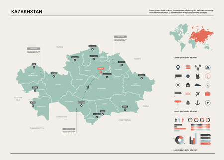 Vector map of Kazakhstan. High detailed country map with division, cities and capital Astana. Political map,  world map, infographic elements.