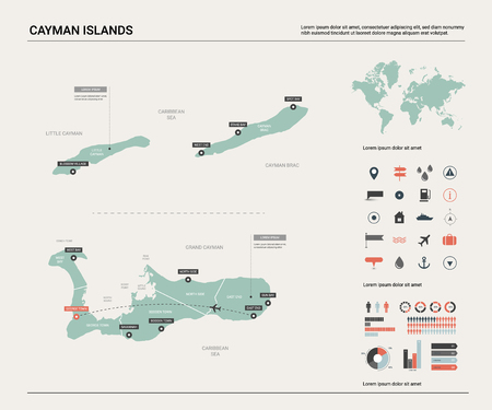Vector map of Cayman Islands. High detailed country map with division, cities and capital. Political map,  world map, infographic elements.