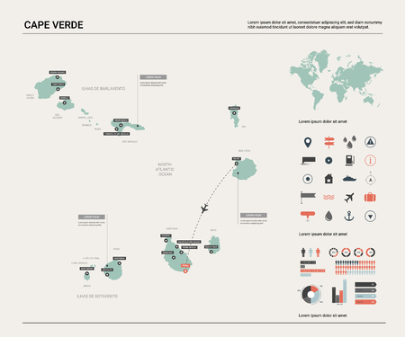 Vector map of Cape Verde. High detailed country map with division, cities and capital Praia. Political map,  world map, infographic elements.