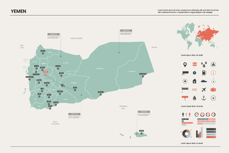 Vector map of Yemen. High detailed country map with division, cities and capital Sanaa. Political map,  world map, infographic elements. Ilustração