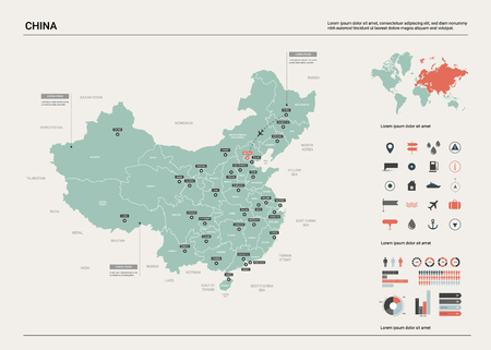Vector map of China. High detailed country map with division, cities and capital Beijing. Political map,  world map, infographic elements.