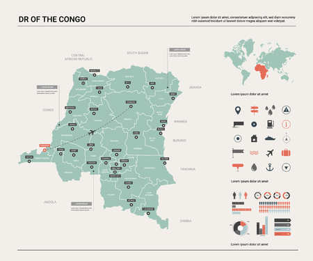 Vector map of DR of the Congo. High detailed country map with division, cities and capital Kinshasa. Political map,  world map, infographic elements.