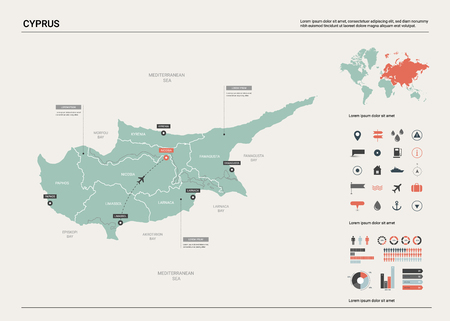 Vector map of Cyprus. High detailed country map with division, cities and capital Nicosia. Political map,  world map, infographic elements.   Ilustração