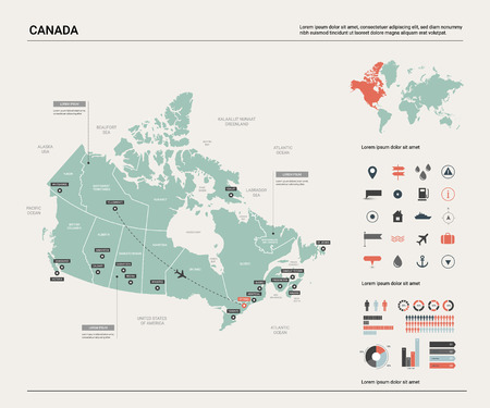 Vector map of Canada. High detailed country map with division, cities and capital Ottawa. Political map,  world map, infographic elements.  Ilustração