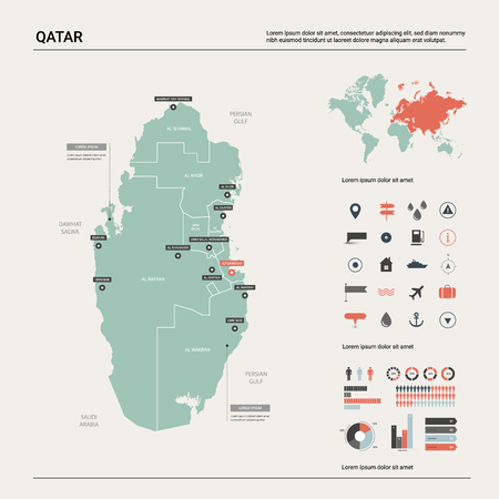 Vector map of Qatar. High detailed country map with division, cities and capital Doha. Political map,  world map, infographic elements.   Ilustração