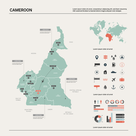 Vector map of Cameroon. High detailed country map with division, cities and capital Yaounde. Political map,  world map, infographic elements.
