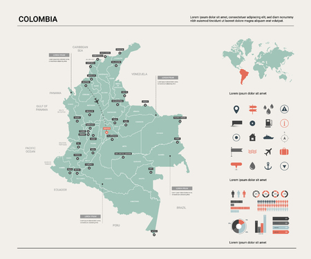 Vector map of Colombia. High detailed country map with division, cities and capital Bogota. Political map,  world map, infographic elements.