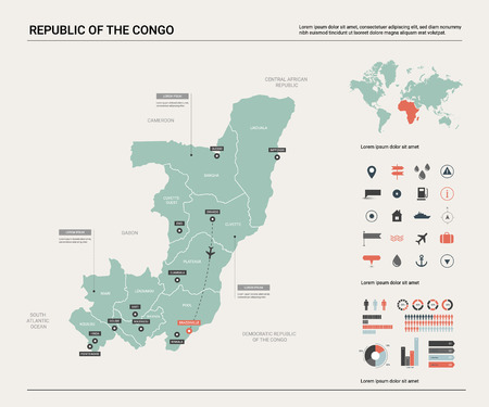 Vector map of Congo. High detailed country map with division, cities and capital Brazzaville. Political map,  world map, infographic elements.